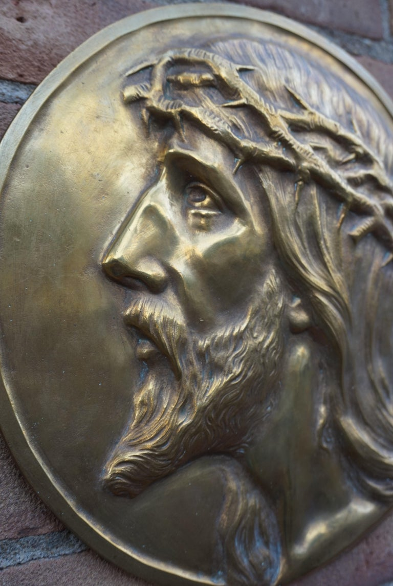 20th Century Sizable Pair of Jesus & Mary Bronze Wall Plaque Sculptures by Francis Corbeels For Sale