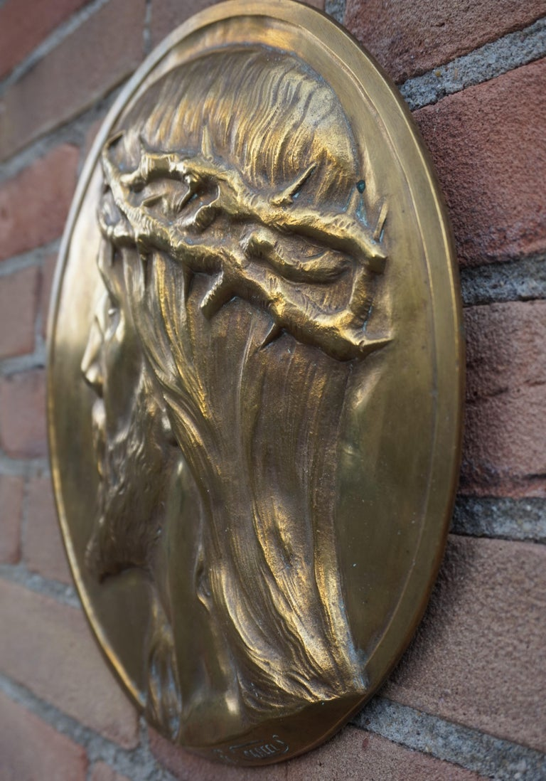 Sizable Pair of Jesus & Mary Bronze Wall Plaque Sculptures by Francis Corbeels For Sale 1