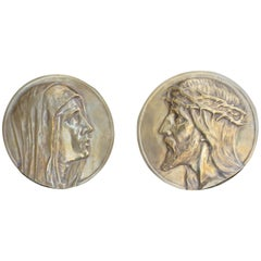 Sizable Pair of Jesus & Mary Bronze Wall Plaque Sculptures by Francis Corbeels