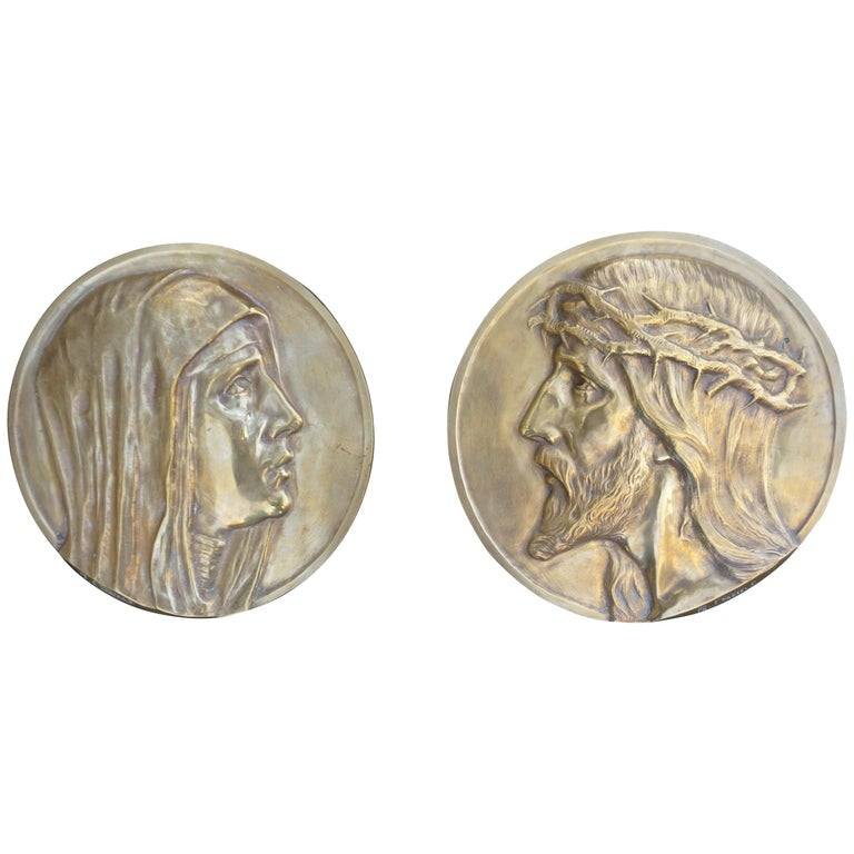 Sizable Pair of Jesus & Mary Bronze Wall Plaque Sculptures by Francis Corbeels For Sale