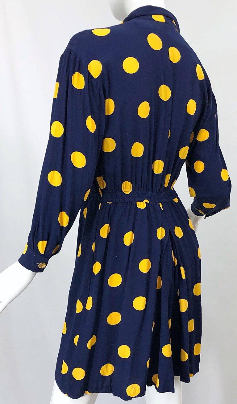 Size 8 Romper Late 1980s Navy Blue and Yellow Polka Dot 80s Vintage Romper For Sale 5