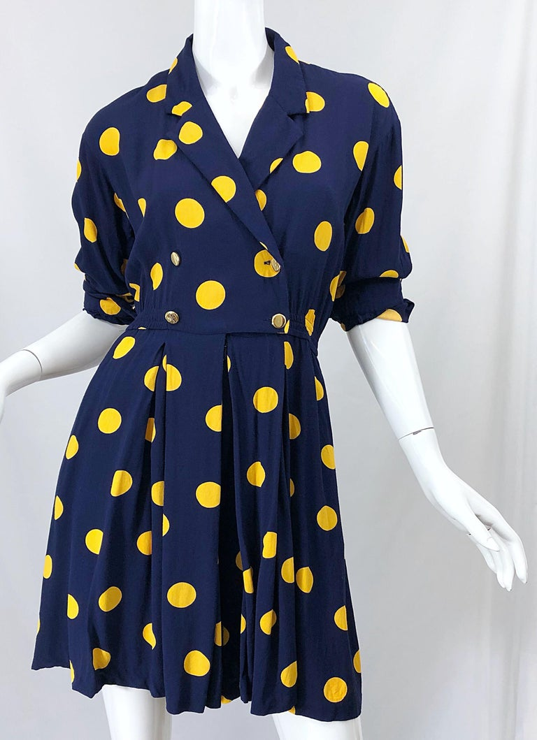 Size 8 Romper Late 1980s Navy Blue and Yellow Polka Dot 80s Vintage Romper For Sale 9