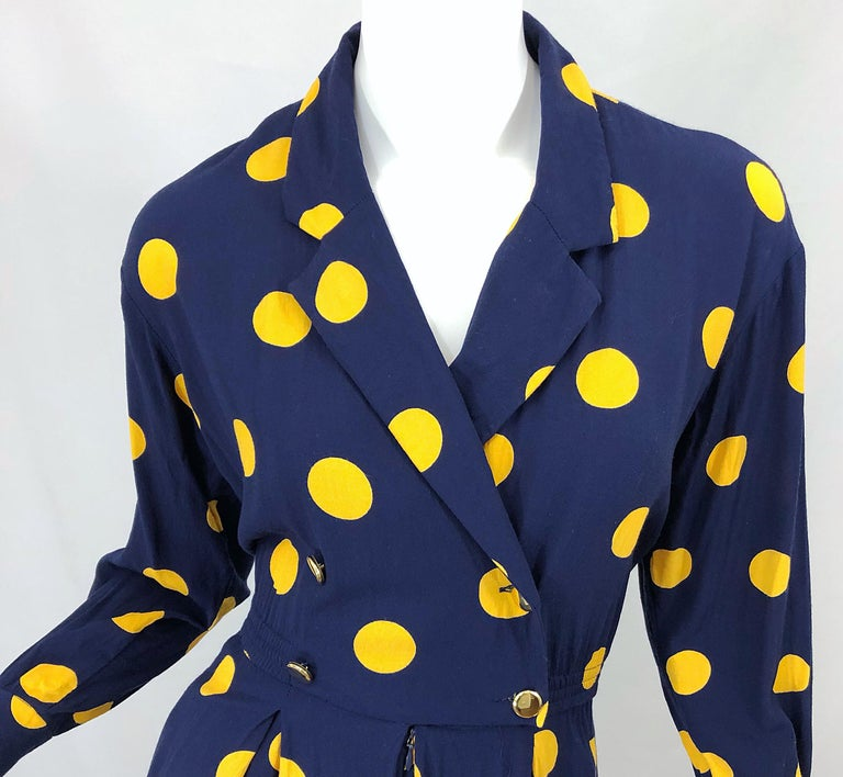 Black Size 8 Romper Late 1980s Navy Blue and Yellow Polka Dot 80s Vintage Romper For Sale