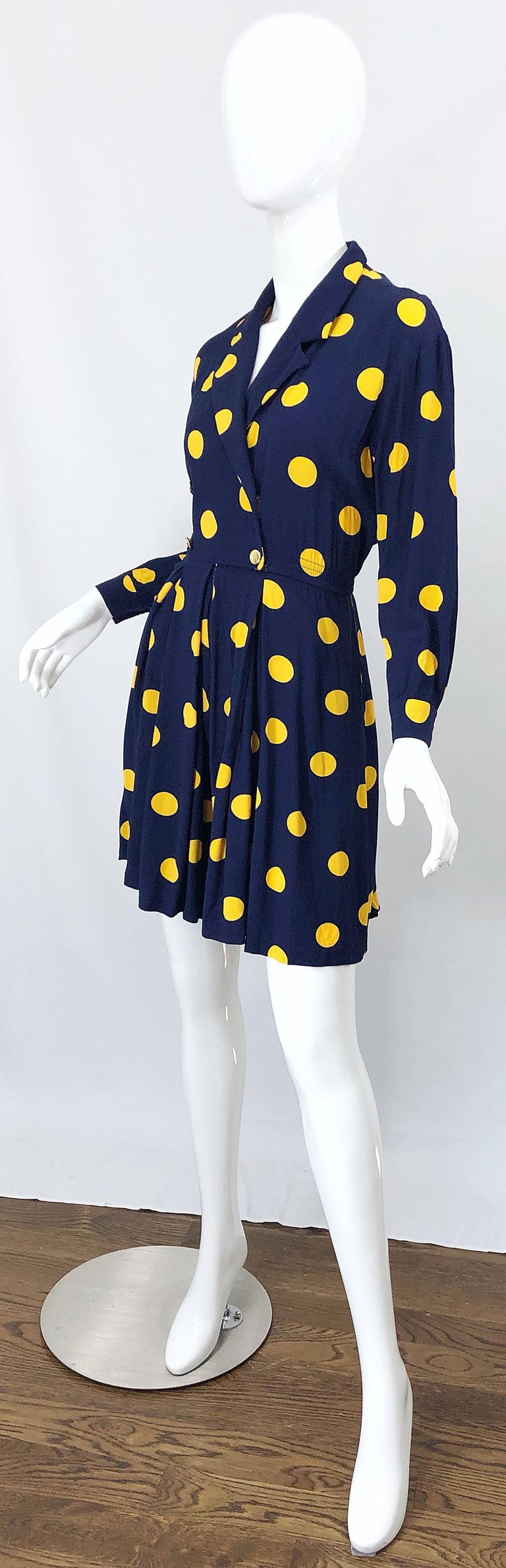 Size 8 Romper Late 1980s Navy Blue and Yellow Polka Dot 80s Vintage Romper For Sale 1