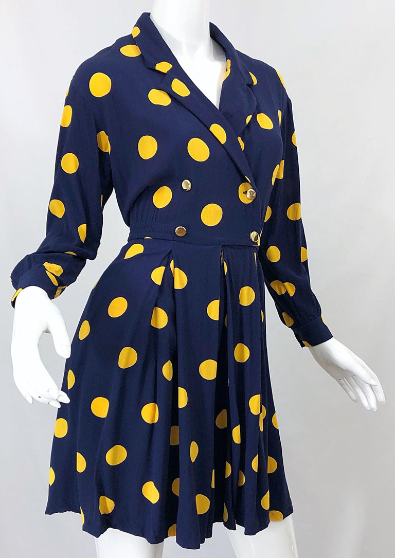 Size 8 Romper Late 1980s Navy Blue and Yellow Polka Dot 80s Vintage Romper For Sale 2