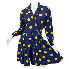 Size 8 Romper Late 1980s Navy Blue and Yellow Polka Dot 80s Vintage Romper