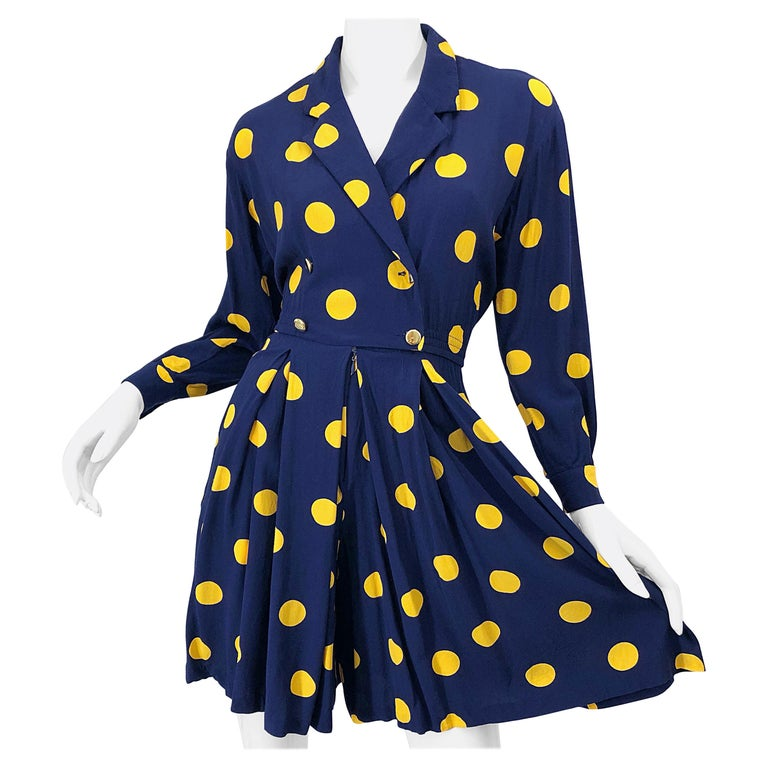 Size 8 Romper Late 1980s Navy Blue and Yellow Polka Dot 80s Vintage Romper For Sale