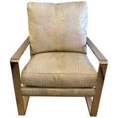 Sizzling Hot Metallic Faux Crocodile and Brass Club Chair