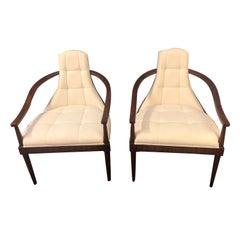 Sizzling Hot Pair Rosewood Veneer & Upholstered Armchairs by Theodore Alexander