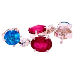 Gemjunky Sizzling Summer Pink and Blue/Green Swinging Earrings
