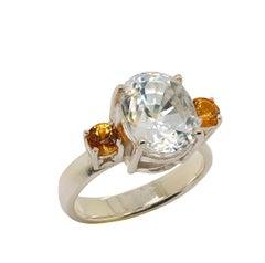 Sizzling White Cambodian Zircon and Mandarin Garnet Ring