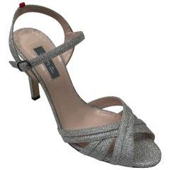 SJP Silver Glitter Ankle Strap Sandal-38.5