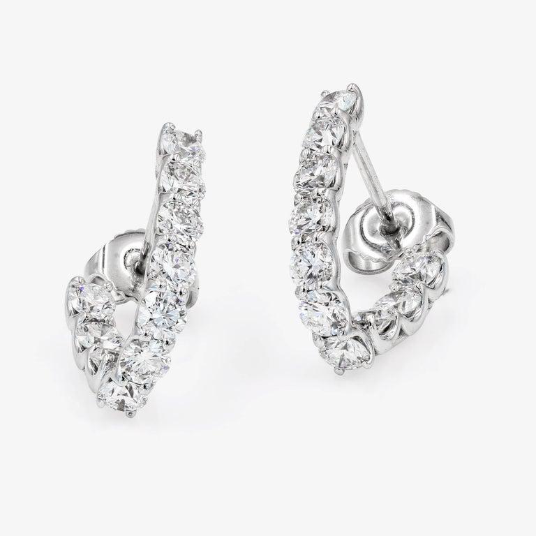 Contemporary SkaLLop J-Hoop Round Diamond Earrings in 18 Karat White Gold For Sale