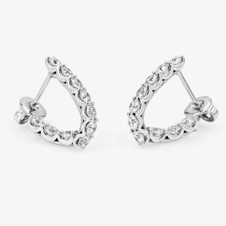 Round Cut SkaLLop J-Hoop Round Diamond Earrings in 18 Karat White Gold For Sale