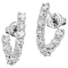 SkaLLop J-Hoop Round Diamond Earrings in 18 Karat White Gold