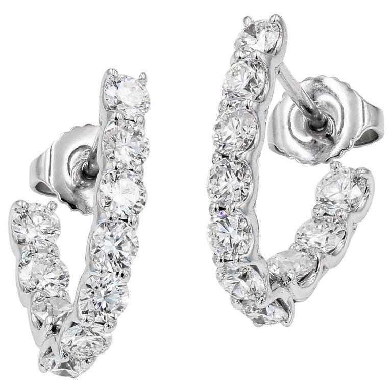 SkaLLop J-Hoop Round Diamond Earrings in 18 Karat White Gold For Sale