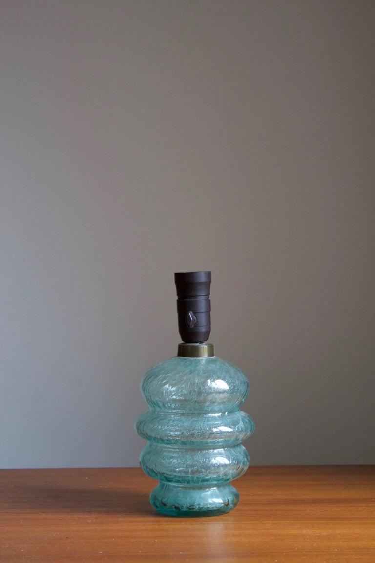 Scandinavian Modern Skansen Glas, Organic Table Lamp, Blue-Colored Blown Glass, Sweden, 1930s For Sale