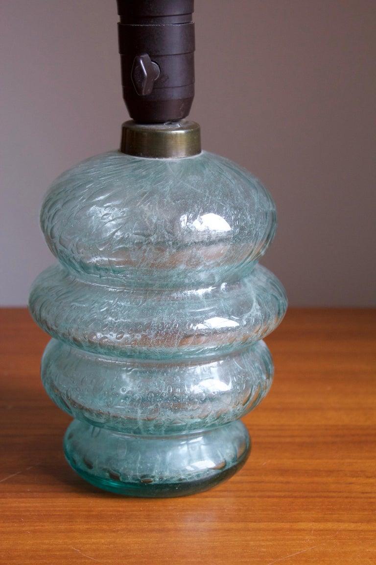 Swedish Skansen Glas, Organic Table Lamp, Blue-Colored Blown Glass, Sweden, 1930s For Sale