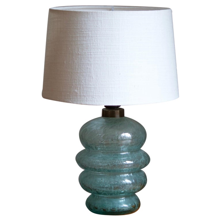 Skansen Glas, Organic Table Lamp, Blue-Colored Blown Glass, Sweden, 1930s For Sale