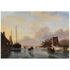 """Skaters on Frozen Waterway"" Landscape Painting by Nicolaas Roosenboom"