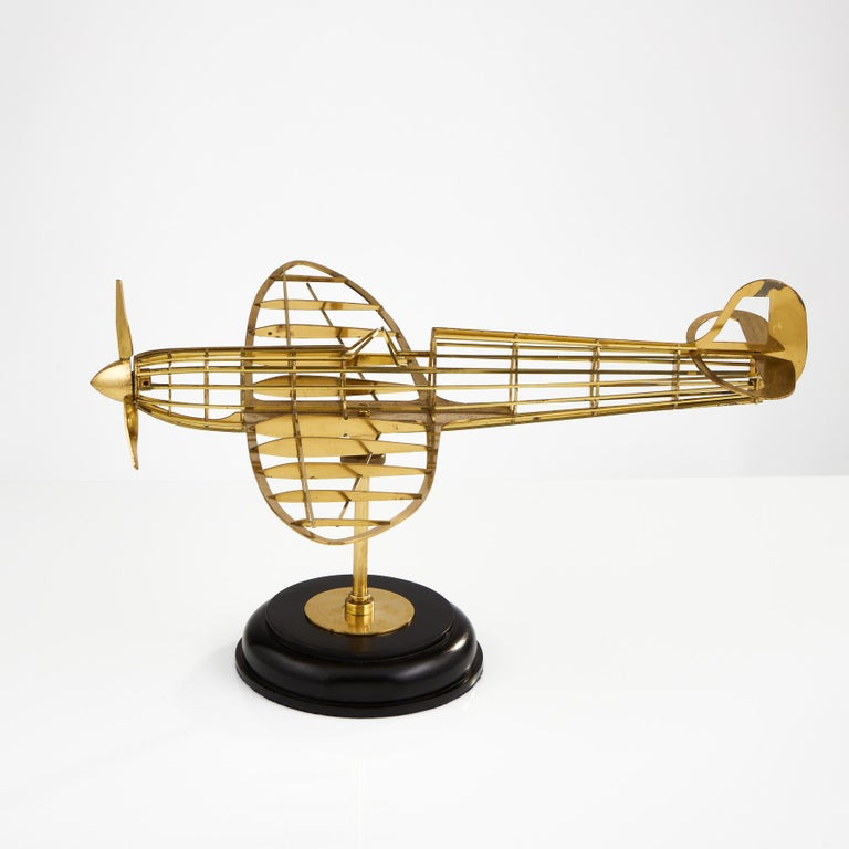 English Skeletal Brass Model of a WW II Spitfire Aircraft Made, circa 1950
