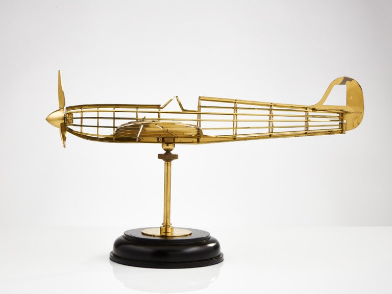 Skeletal Brass Model of a WW II Spitfire Aircraft Made, circa 1950 In Good Condition In London, GB