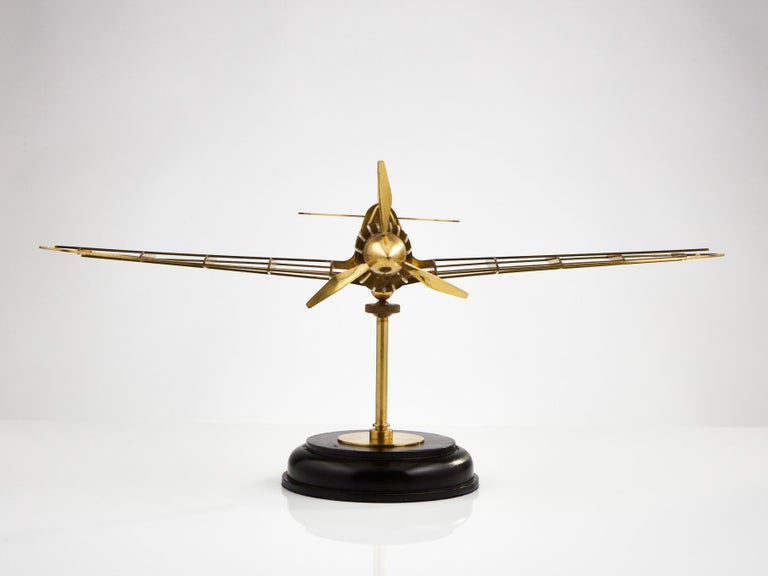 Mid-20th Century Skeletal Brass Model of a WW II Spitfire Aircraft Made, circa 1950
