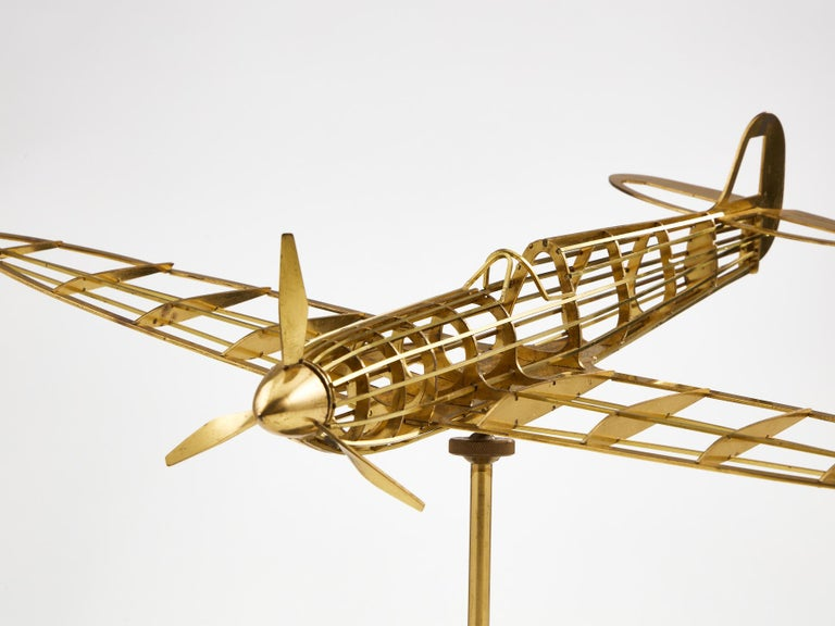 Skeletal Brass Model of a WW II Spitfire Aircraft Made, circa 1950 1