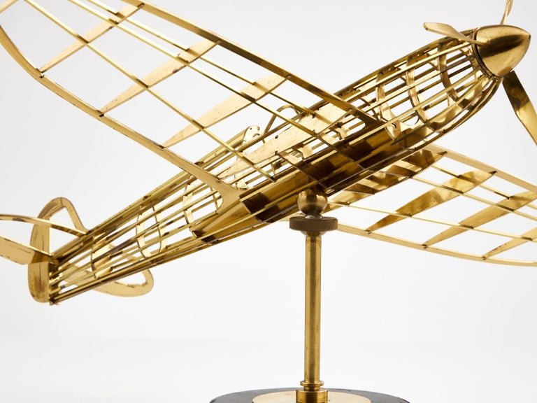 Skeletal Brass Model of a WW II Spitfire Aircraft Made, circa 1950 2