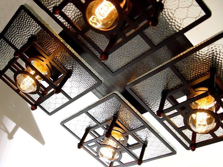Machine Age Skeletal Wire Glass 4-Light Chandelier For Sale