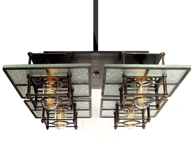 American Skeletal Wire Glass 4-Light Chandelier For Sale