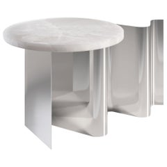 Sketch Contemporary Side Table in Metal and Marble by Artefatto Design Studio
