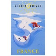 Ski France Sport D'Hiver Original Vintage Poster