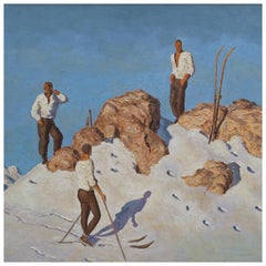 Ski Painting, Alfons Walde Follower, Skiers on the Pengelstein, Kitzbuhel