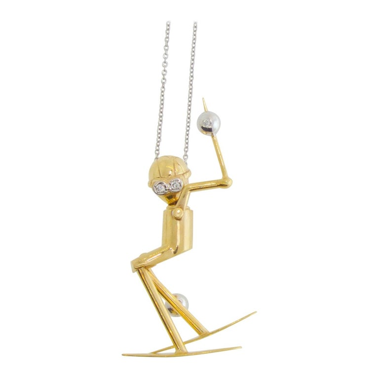 Skier Pendant in 18 Karat Gold with Diamonds For Sale