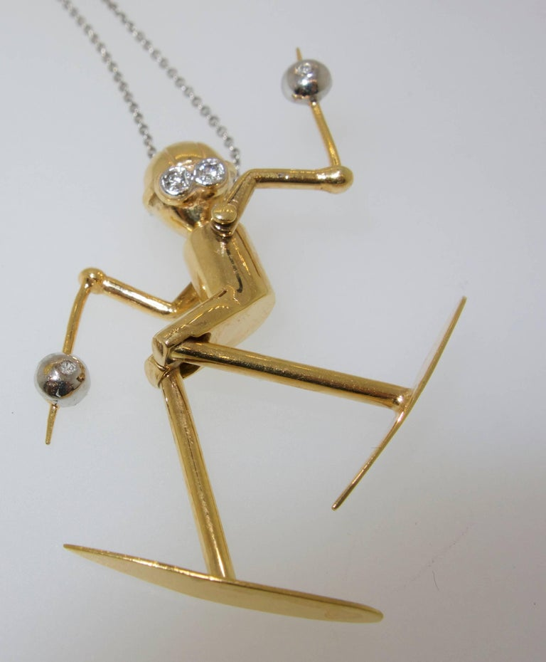Contemporary Skier Pendant in 18 Karat Gold with Diamonds For Sale