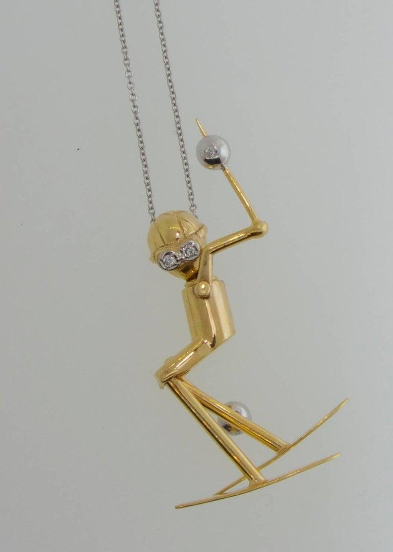 Women's or Men's Skier Pendant in 18 Karat Gold with Diamonds For Sale