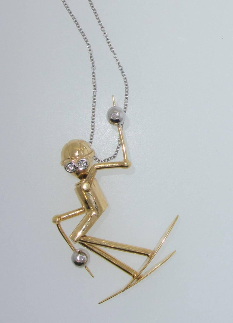 Skier Pendant in 18 Karat Gold with Diamonds For Sale 1