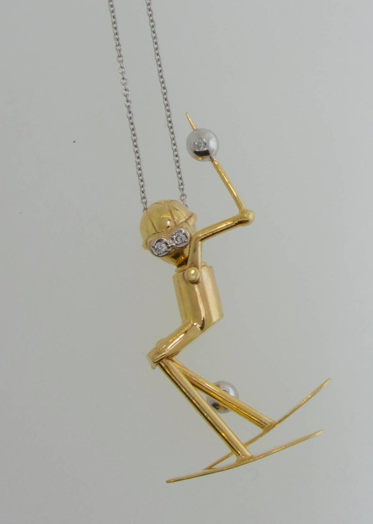 Skier Pendant in Gold with Diamond Accents In Excellent Condition For Sale In Aspen, CO