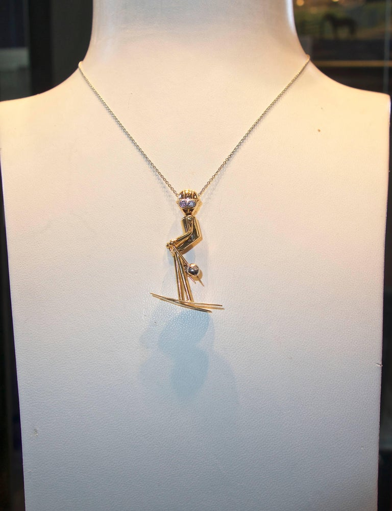 Skier Pendant in Gold with Diamond Accents For Sale 1