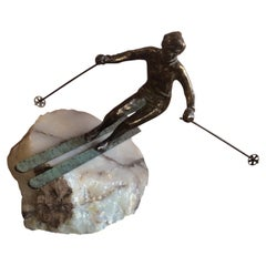 Skier Sculpture on Onyx Base by C. Jere