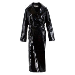 Skiim Karla Black Patent Leather Trench Coat - New Season Size 38