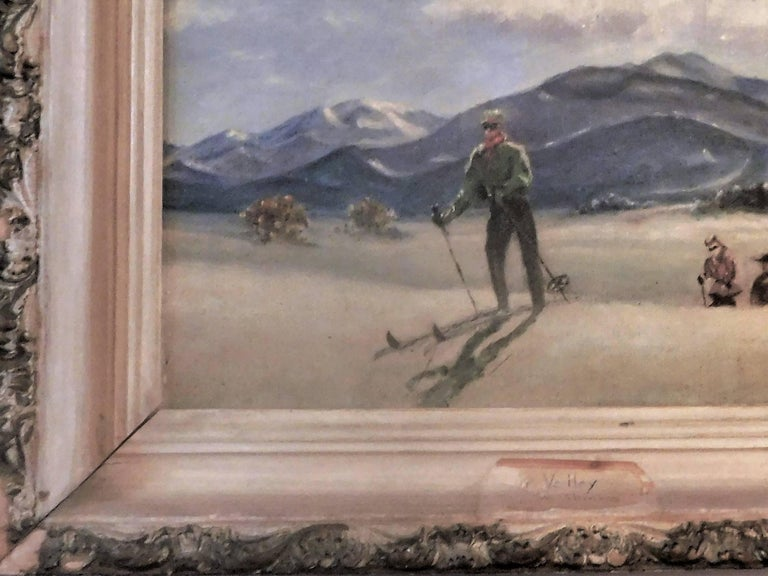 Skiing in Sun Valley, Oil Painting on Canvas Signed Abrams, circa 1938 For Sale 3
