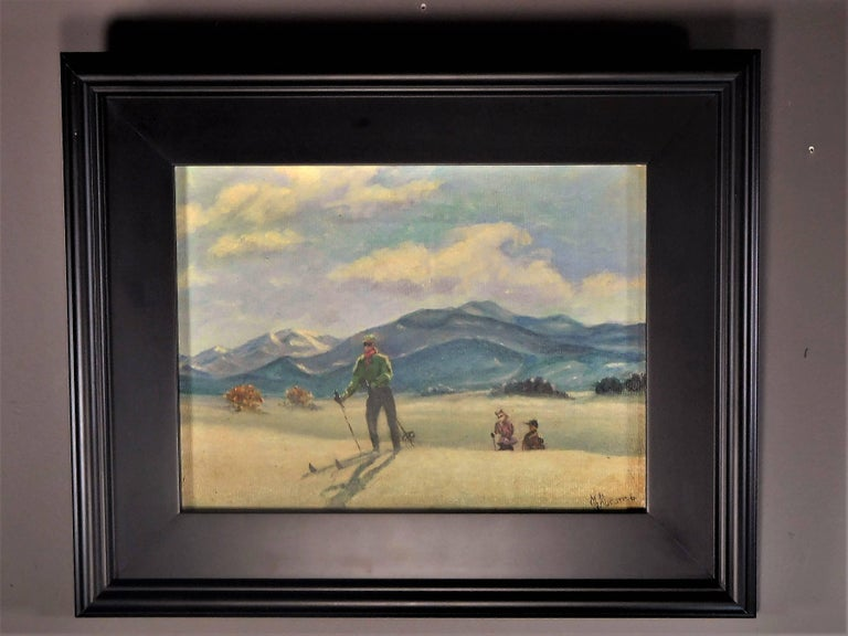 This cross-country skiing scene evokes the early days of the first American destination ski resort, Sun Valley, Idaho. It is done in oil paint on canvas and is signed in the lower right by M. Abrams. Although the artist did not date the painting,