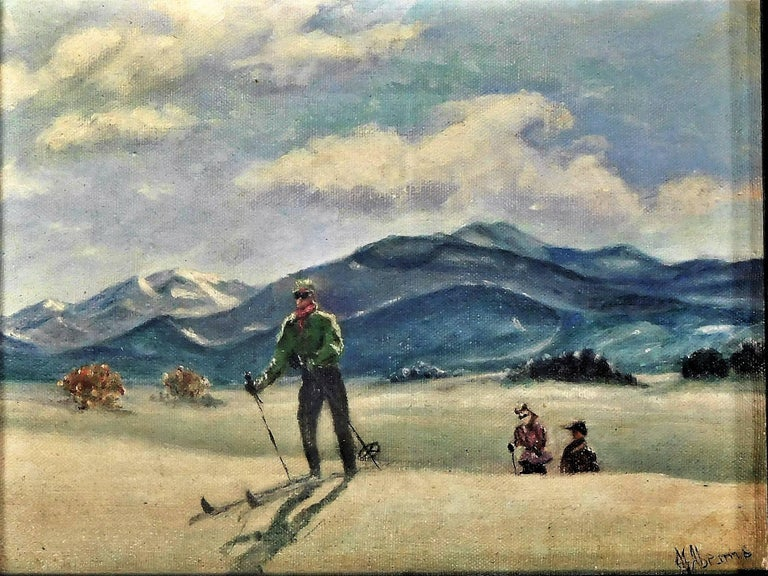 Sporting Art Skiing in Sun Valley, Oil Painting on Canvas Signed Abrams, circa 1938 For Sale