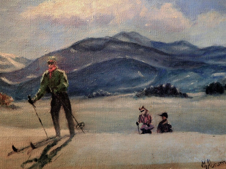 American Skiing in Sun Valley, Oil Painting on Canvas Signed Abrams, circa 1938 For Sale