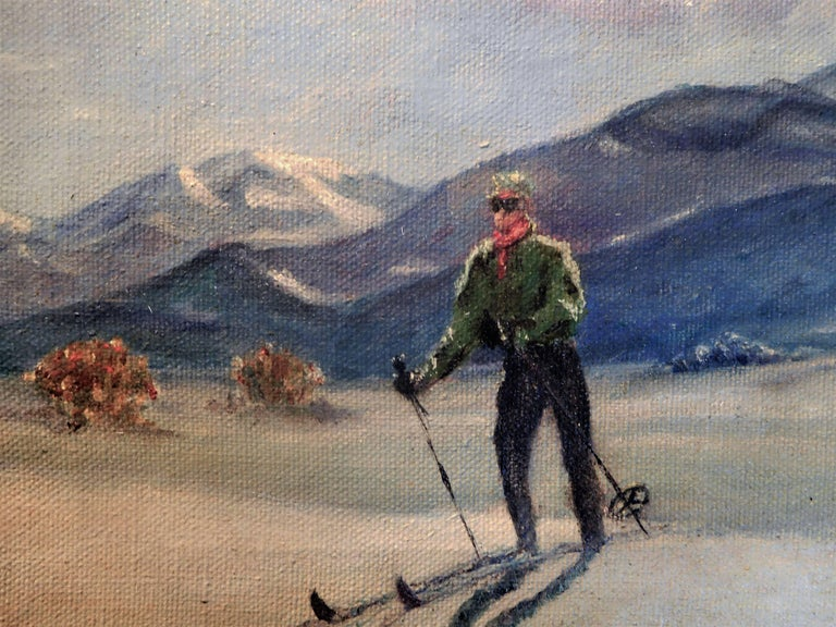 Brushed Skiing in Sun Valley, Oil Painting on Canvas Signed Abrams, circa 1938 For Sale