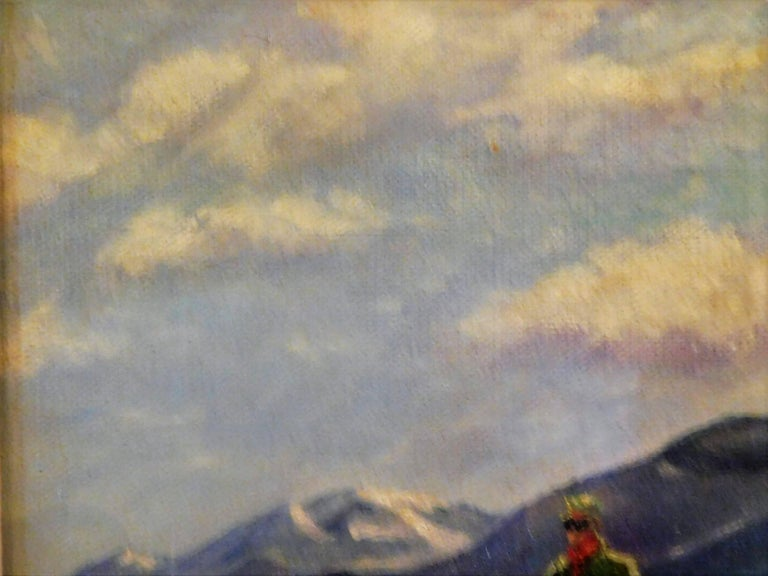 Skiing in Sun Valley, Oil Painting on Canvas Signed Abrams, circa 1938 In Good Condition For Sale In Quechee, VT