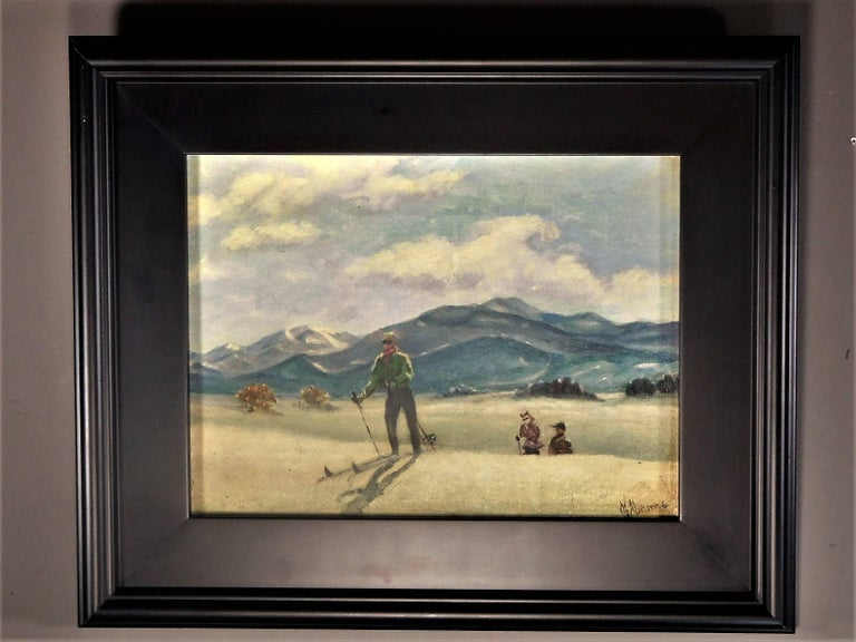 Skiing in Sun Valley, Oil Painting on Canvas Signed Abrams, circa 1938 For Sale 1