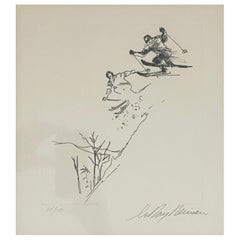"""Skiing Suite Etching """"Jump"""" by Leroy Neiman"""